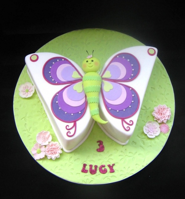 Beautiful butterfly---The wings are round cake halves.