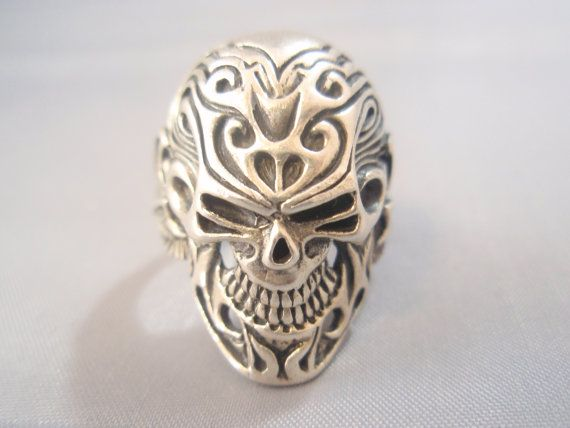 Sterling Silver Ring 925 Sugar Skull Flowers Tattoo by itz8686, $64.99