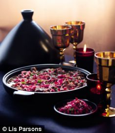 Lamb and Date Tagine with red onion and pomegranate relish...Nigella Lawson