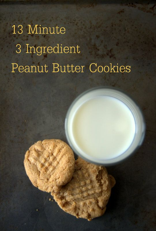 3 Ingredient Peanut Butter Cookies - perfect first recipe for the kiddos.  So easy and SO good!