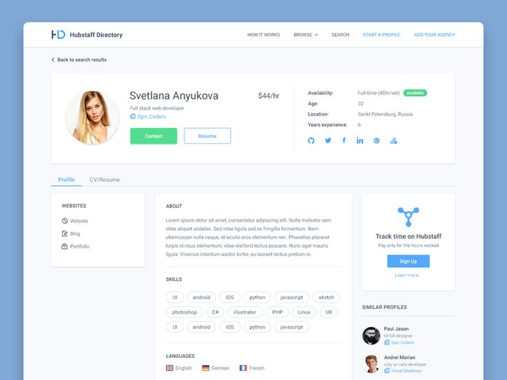 Hey fellow designers,  I present you Svetlana, a sexy full-stack developer looking for collaborations. Any of you interested?