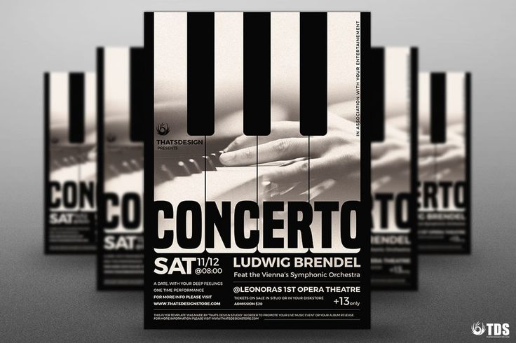 Piano Concerto Flyer Template PSD