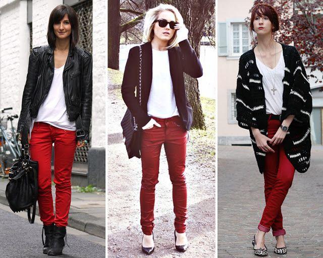 Cómo combinar unos pantalones pitillo de color rojo