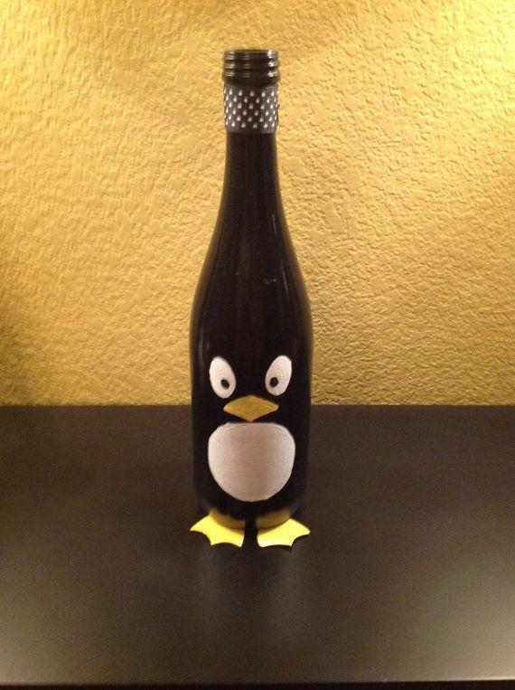 Penguin wine bottle by RoundtheHouseGifts on Etsy, $6.00