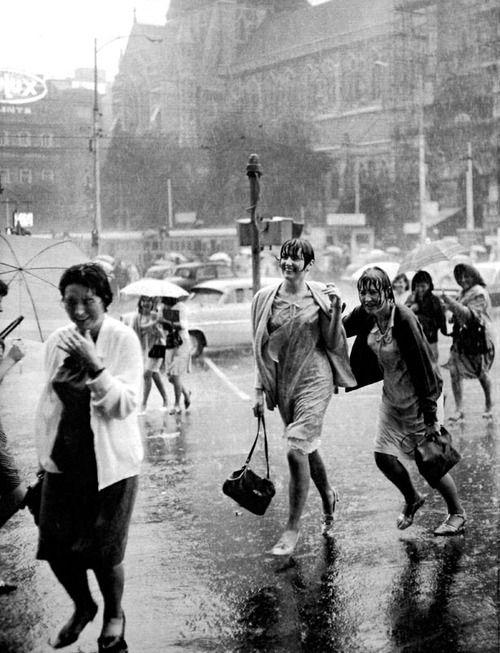 Rainy day, outside Flinders Street Station • Melbourne, Victoria, Australia • December 7, 1965.