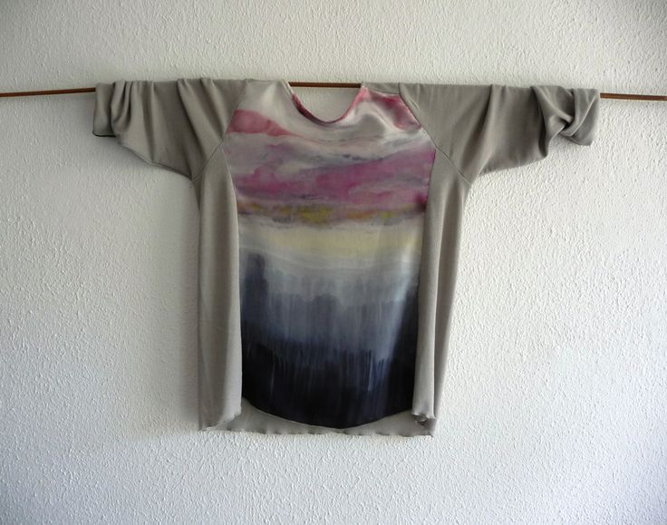 Handpainted on silk, artwear cloudy