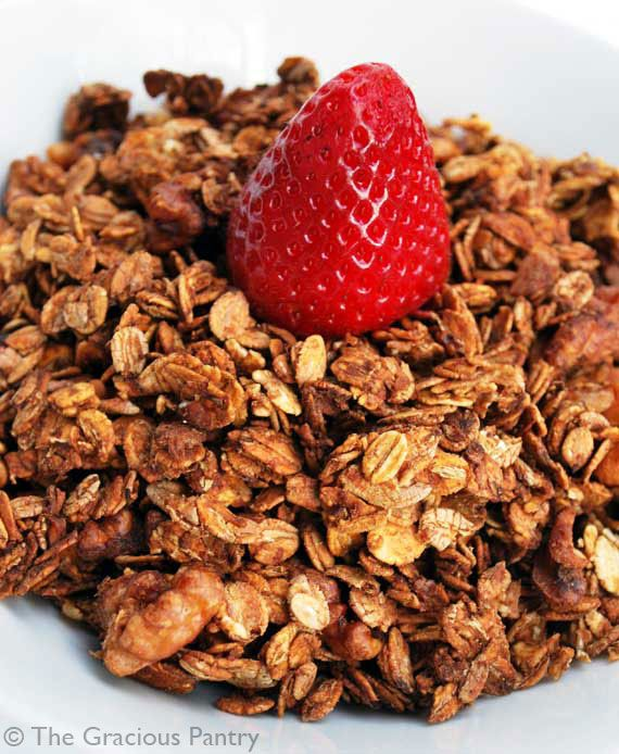#SexyShred Recipe: Clean Eating Granola (thanks, @learnedtraveler!) | No rolled oats; use steel-cut oats instead. Make sure the unsweetened apple sauce is organic. Sweeten with raw honey.