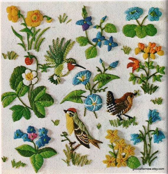Two Crewel Embroidery Patterns Vintage Needlepoint by goodafternew, $8.04