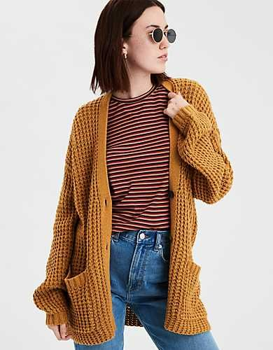 209ede44578 AE Slouchy Waffle Cardigan Sweater in 2019