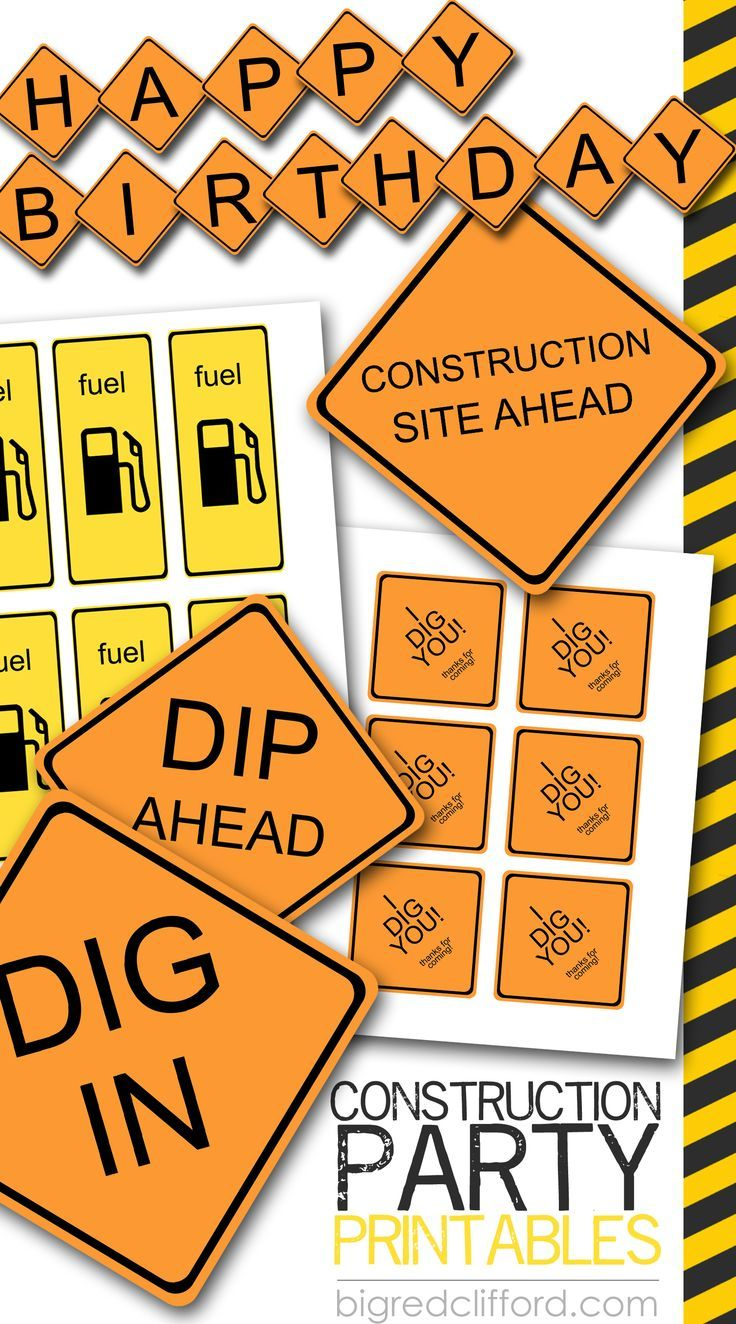 construction party free printable signs decorations party favors  Aprons from Home Depot and Iron on for shirt