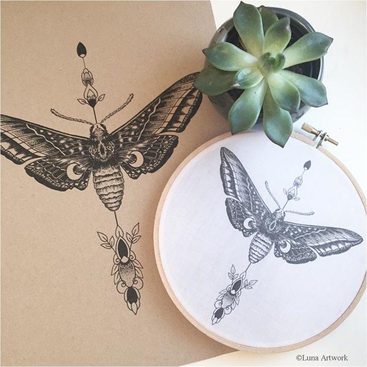 Lunar Moth Hoop Print / mehndi pattern / design / décor / home interior / wall art / moth / luna /moon /black and white / recycled paper / eco print