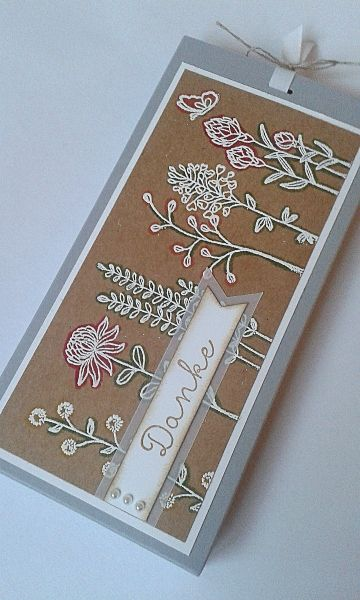 handmade card ... short and wide ... Flowering Fields ... white embossed on kraft ... Stampin' Up!