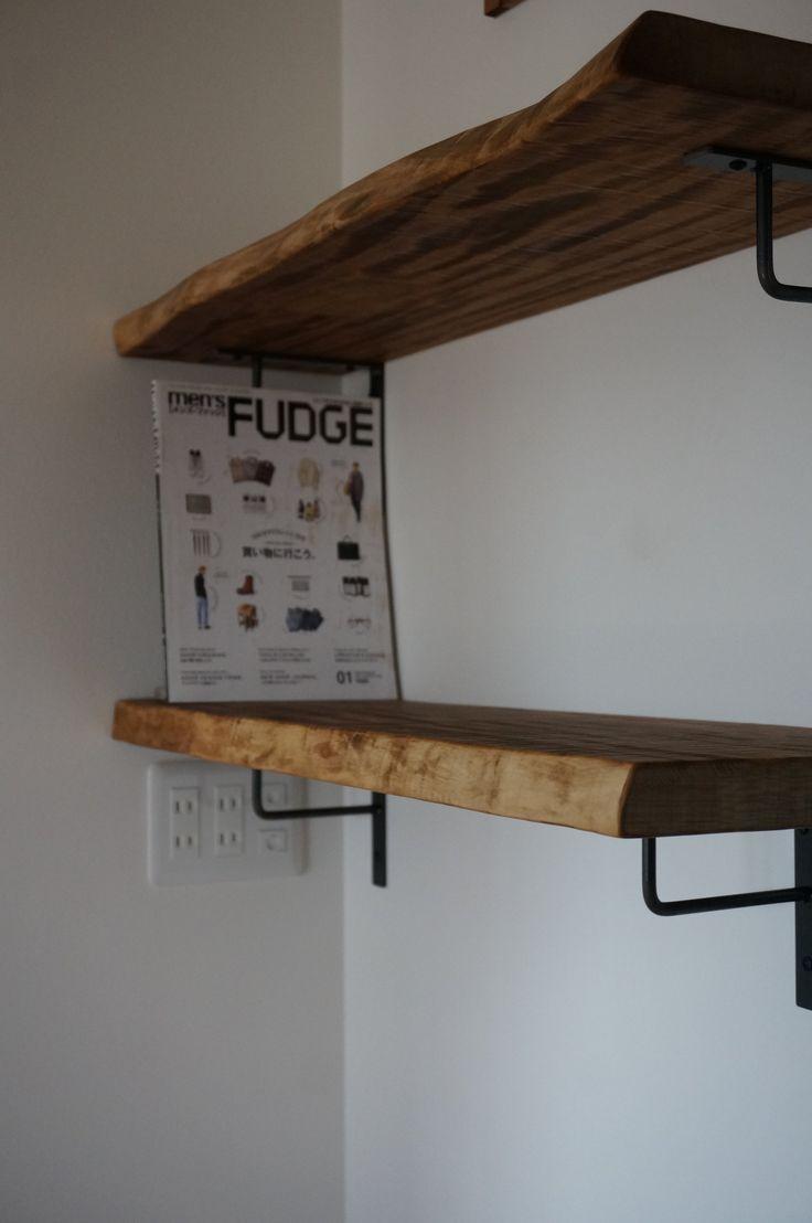 Works 栃古材とアイアンブラケットハンガータイプの棚