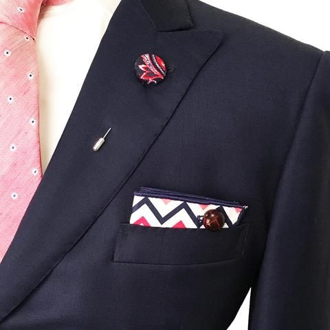 Navy Blue Red Coral and White Chevron Pocket Square