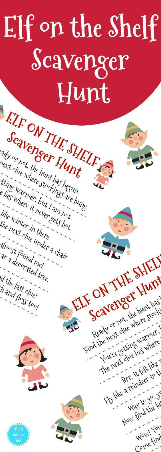 Need elf on the shelf ideas? Grab this free printable Elf on the Shelf Scavenger Hunt for Christmas the kids will love! #elfontheshelf #elfontheshelfideas #christmas #scavengerhunt #christmastime