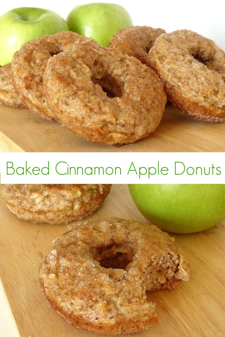 Baked Apple Cinnamon #Donuts #Recipe - these donuts are super-easy to make and are bursting with fall flavour! Plus, their a bit healthier, since they're made with only 1 tablespoon of butter for 6 huge donuts and are baked in the oven. | www.pinkrecipebox.com