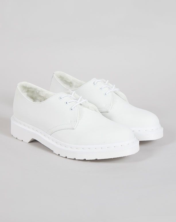 Dr. Martens 1461 White Furry Shoe - Shoes - Categories - Womens