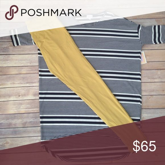 LuLaRoe S Irma w/ TC Leggings💛💛 NWT Small Irma paired with TC Leggings. Irma is Navy blue and white Stripes. Leggings fit most women size 12-22💛💛 LuLaRoe Other