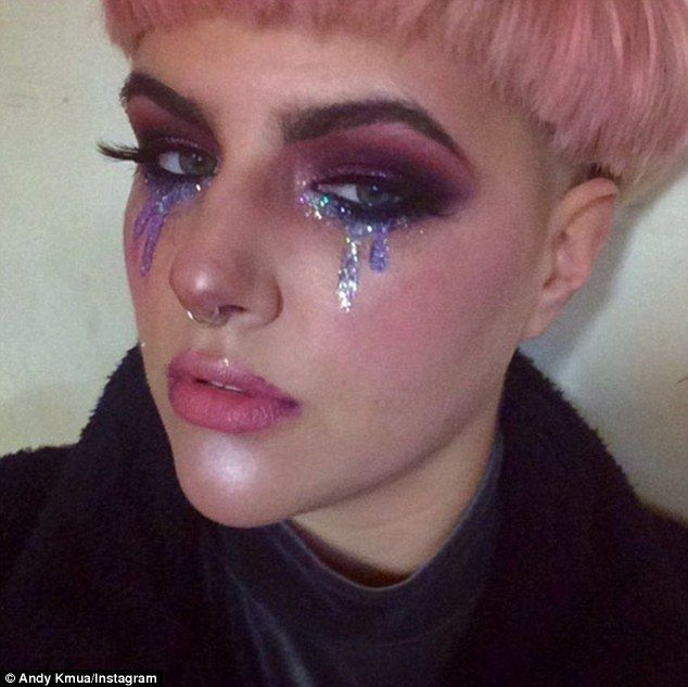 Glitter tears: Following in the glitter hair roots and glitter freckles trend is the latest craze - glitter tears