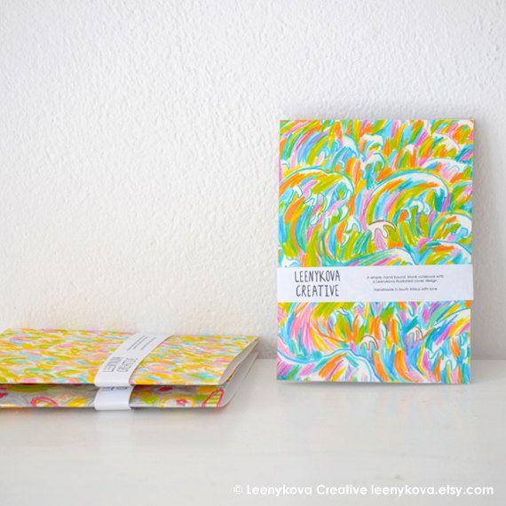 Set of 3 Handmade Notebooks Illustration Cover by Leenykova