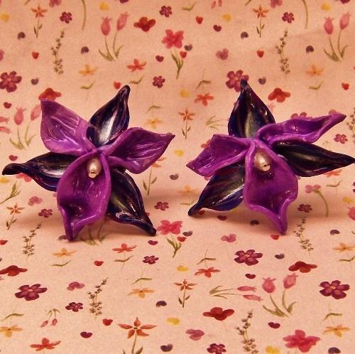 Handmade OOAK Polymer Clay Purple Orchid Flower Post Earrings
