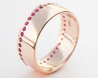 Ruby Ring, Ruby Wedding Band, Ruby Wedding Ring, Ruby Wide Ring, Rubies Wedding Band, Gold Rubies Ring,Gold Rubies Band,Eternity Ring, Ruby