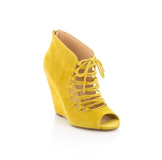 yellow suede laceup wedge shoe lust