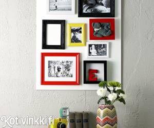 Pikkukehykset eivät rei'itä koko seinää, kun teet kehyskollaasin mdf-levyyn tai puuvaneriin. Jos kuvien värimaailmat pistävät sisustajansilmääsi, teetä mustavalkoiset kuvat ja elävöitä kokonaisuutta sisustukseesi sopivilla kehyksillä. Saat kokoelmasta mielenkiintoisen, kun tuot siihen täysin tyhjiä kehyksiä sekä vitriinikehykset, joiden sisältä löytyy jotain aivan muuta.