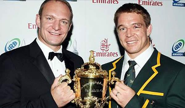 South Africa's Rugby World Cup winning captains: Francois Pienaar and John Smit