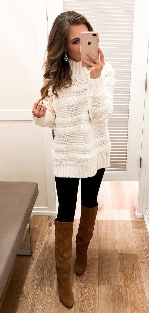 #winter #outfits white turtleneck sweater and brown leather knee-high boots  #winterwomensfashion