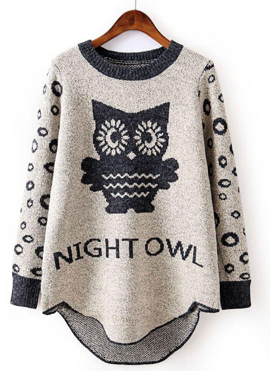 Beige Long Sleeve Owl Pattern Loose Sweater