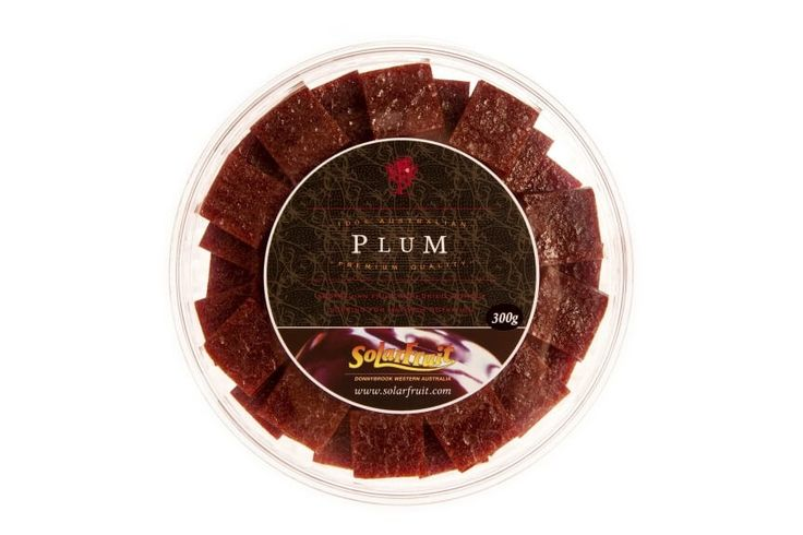 Platter Pieces - Plum..........Platter Pieces are bite sized squares of Solarfruit presented in a round, resealable container. These make the perfect addition to a cheese or fruit platter. Also a handy travelling pack which is easy to share. Flavor - Plum (no added sugar; citric acid added).    Apricot won a Silver medal at the 2014 Royal Melbourne Fine Food Awards.Nectarine won a Bronze medal at the 2014 Royal Melbourne Fine Food Awards.