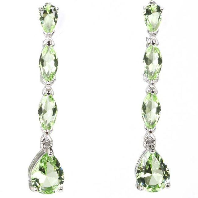 Elegante Groene Tsavorite Granaat Drop Vrouw Dames Bruiloft Zilveren Oorbellen 41x7mm