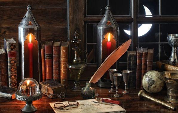 Обои винтаж, книги, очки , фонари, окно картинки на рабочий стол, раздел стиль - скачать