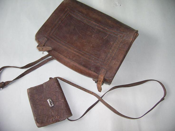 alter Schulranzen + Tasche, Turnister, Schultasche, Leder orginal, 2 Teile TOP