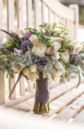 Rustic Bouquet with Purple Wildflowers | Photography: Sallee Photography. Read More: http://www.insideweddings.com/weddings/rustic-chic-lakeside-wedding-with-geometric-details-in-california/843/