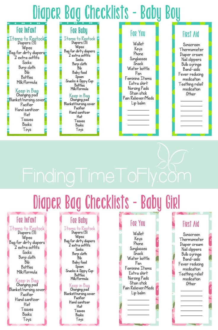 Diaper Bag Checklist - boy - girl