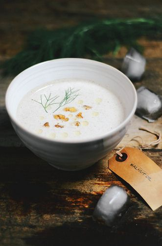 Chilled cucumber walnut yoghurt soup | Food Porn | soups | Pinterest