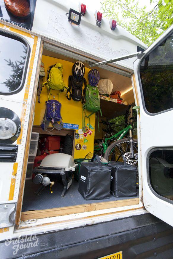 Outside Found Skoolie School Bus Conversion   Garage