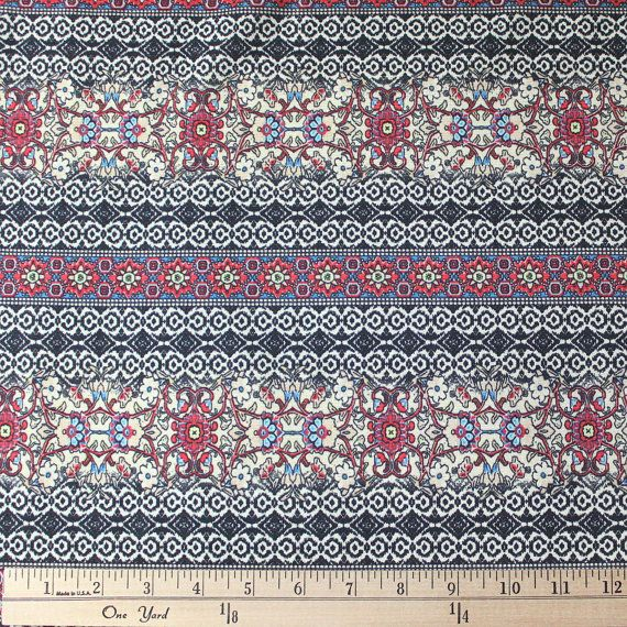 Cranberry Periwinkle Cream and Black Tribal Aztec Ponte De Roma Knit Fabric, 1 yard