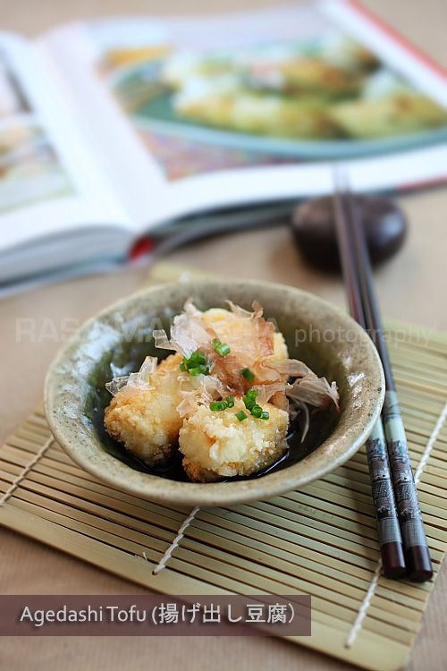 Agedashi Dofu (Fried Tofu in Gingery Sweet Soy Sauce) . . . Exclude the sake and sugar for the Tsuyu sauce, and it's great!