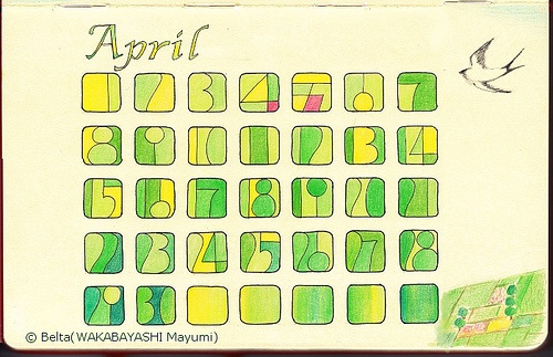 2013_04_Calendar    I have drawn the calendar of this style since last May.  And this April calendar is last drawing.      Pigma,Faber-Castell Polychromes  and Moleskine sketchbook.    painting & photo copyright Belta(WAKABAYASHI Mayumi). all rights reserved.