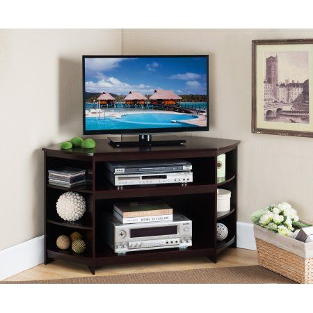 "45"" Cherry Wood Corner Entertainment Center TV Console Stand With Storage Shelves"
