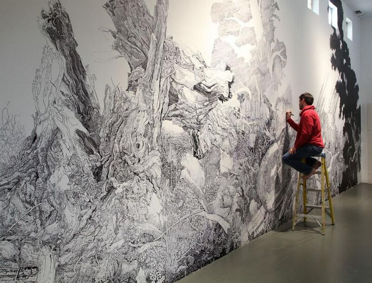 A Sprawling Forest Mural Drawn With Only a Black Sharpie by Sean Sullivan