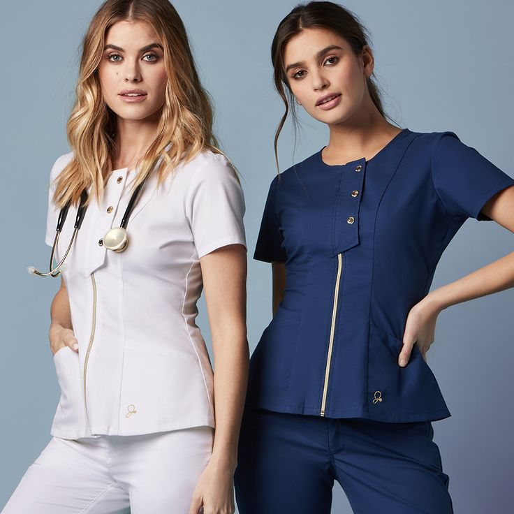 Introducing the Snap Front Top, featuring deep angled pockets, a full front zipper, and a signature gold snap flap. Get this statement-maker now. #scrubs