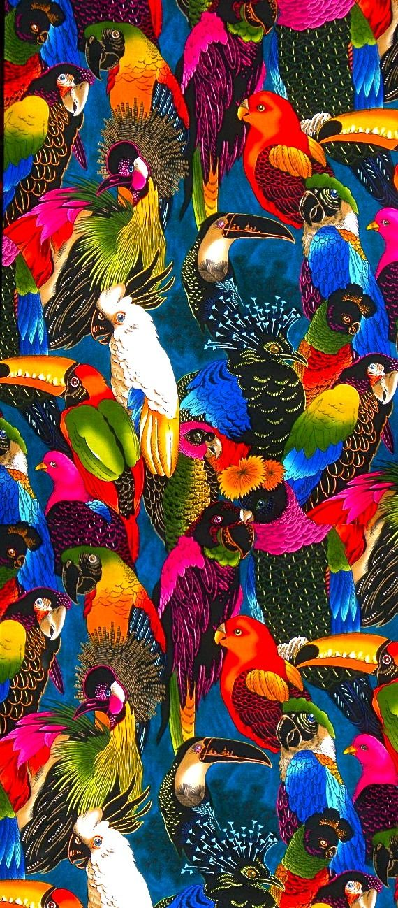Coquita - alexander henry Beautiful #birds in bright vivid colors. quetzel, maccaw, peacocks, parrots, cockatoo... can you name them all?