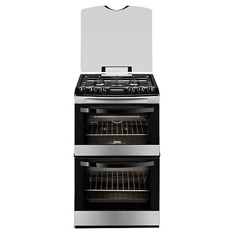 Zanussi ZCG43200XA Gas Cooker, Stainless Steel - In a sleek stainless steel finish and with a width of 55cm (22in), the Zanussi ZCG43200XA Gas Cooker is sure to be a space saving and stylish addition to your kitchen. Perfectly sized for small spaces. Available online at johnlewis.com or http://www.zanussi.co.uk/Products/Cooking/Cookers/