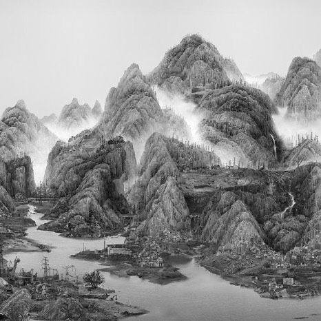 Yang Yongliang's photo 'From the New World' looks like a breathtaking landscape featuring pristine mountains in the mist. Look a little closer and youll see something else entirely. The scene is actually a collage of hundreds of high rises apartment buildings and factories from cities across China. More at WIRED.com. ( Yang Yongliang) by wired