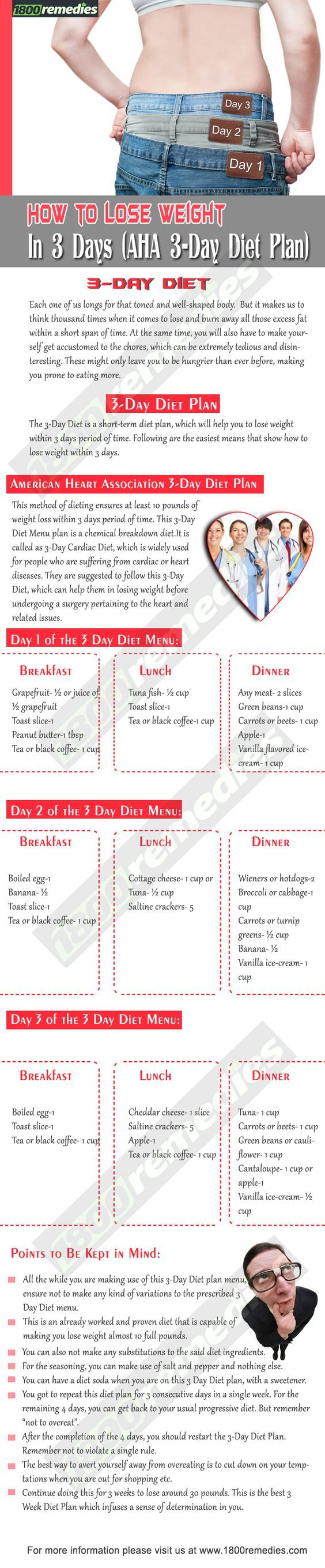 The 3-Day Diet is a short-term diet plan, which will help you to lose weight within 3 days period of time. Following are the easiest means that show how to lose weight within 3 days.: