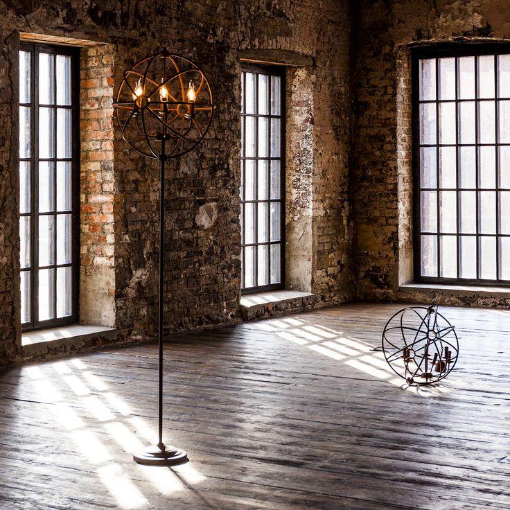 """Украшенный абажуром из металлических прутьев, соединенных между собой в форме сферы, торшер """"Юбер"""" возвышается на грациозном металлическом штативе. Внутри металлической сферы - 6 осветительных ламп в форме свечи. Торшер придаст интерьеру авторский почерк и подойдет как для гостиной, так и для офиса. #светильник, #торшер, #напольный, #свет, #освещение, #лампа, #электричество, #интерьер, #декор, #interior, #torchere, #floorlamp, #lamp, #objectmechty"""
